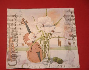 "home deco ""Violin"" themed paper napkin"