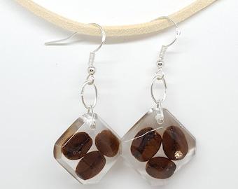 Real coffee earrings, coffee bean earrings, real coffee  earrings, brown earrings, silver plated earrings, squere earrings, coffee lover