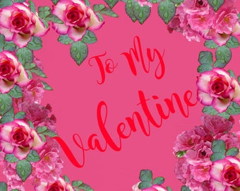 Valentines Day Floral Card Hot Pink