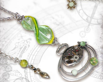Ecosphere Time Lapse Steampunk Necklace - Za Dee Da - The Mad Scientist Collection