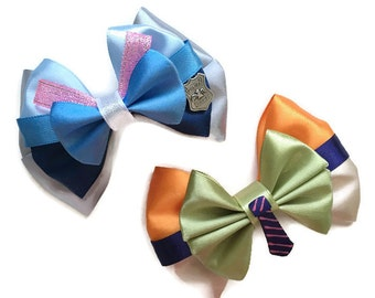 Zootopia Inspired Judy Hopps and Nick Wilde Disney Hair Bows