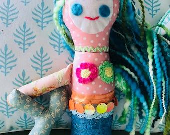 Mermaid Fabric Doll, Mermaid Softie, Handmade Doll DOLL1143