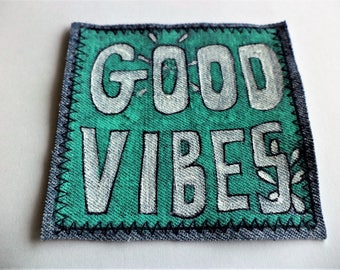 Jeans Patch, Backpack Accessory, Groovy Patch, Hippie Patch, Good Vibes , Handpainted Patch, OOAK Handpainted Patch ,  Upcycled Denim