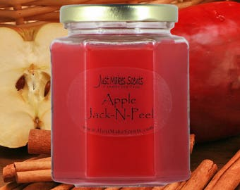 Apple Jack-N-Peel Scented Candle - Claire Burke type - Great Apple Cinnamon Scent - Blended Soy Candle - Free Shipping on Orders of 6+
