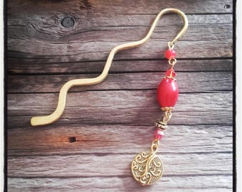 gold charm bookmark red beads and gold beads