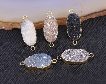 Natural druzy connector beads, titanium agate quartz druzy pendant connector, Gold plated oval bezel druzy charm jewelry findings