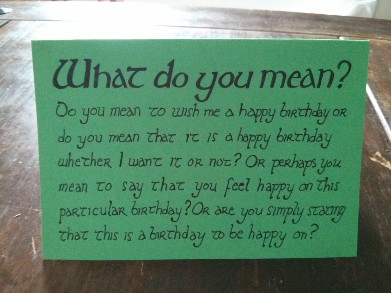 Green Hobbit Birthday Card Lord of the Rings Gift Custom