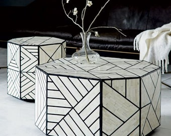 Bone Inlay Coffee Table Full Geometric