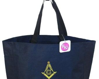 Masonic Compass & Square Freemason Bag Monogram Custom Embroidered Navy Blue READY TO SHIP! Essential Tote