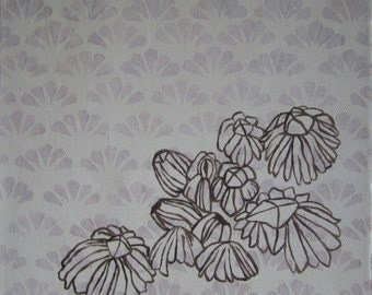 Barnacles, Shell Patterned Wallpaper - Acrylic Painting