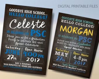 Graduation Invitation,  Graduation Party Announcement, Graduation/Trunk Party, Going Away to College Invitation