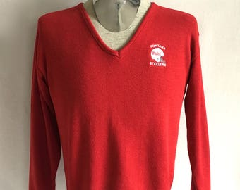 Vintage Men's 80's Red, V Neck, Sweater, Steelers, Pull Over (L)