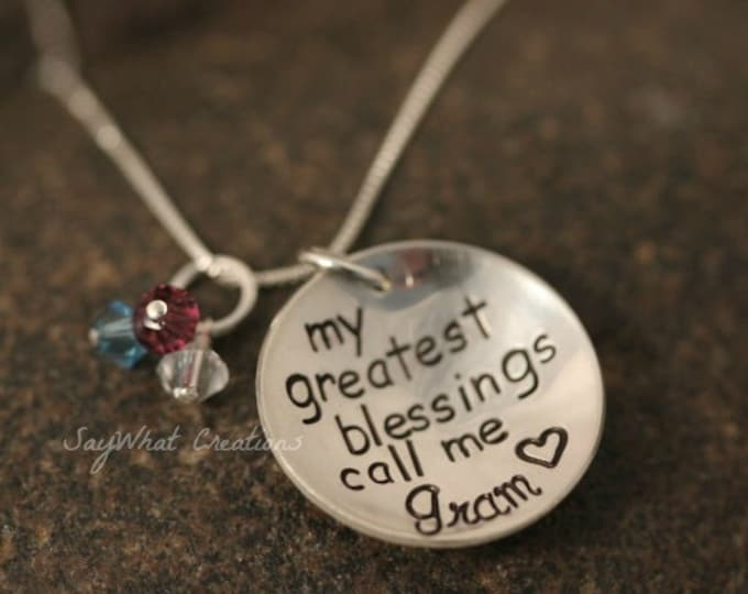 Custom Hand Stamped Necklace My Greatest Blessings Call Me Mom, Mommy, Nana, Grandma, Aunt, etc.