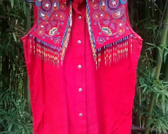 Sale! Urban Cowgirl: Phenomenal Beaded Fringe and Embroidered Blouse