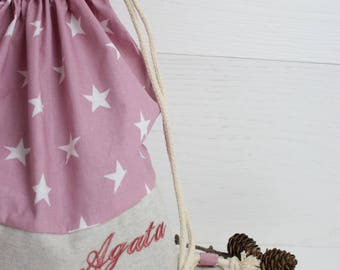Kindergarten Set-cloth bag all-rounder-set cotton kindergarten fantasy star customizable with embroidery-school set star Fabric