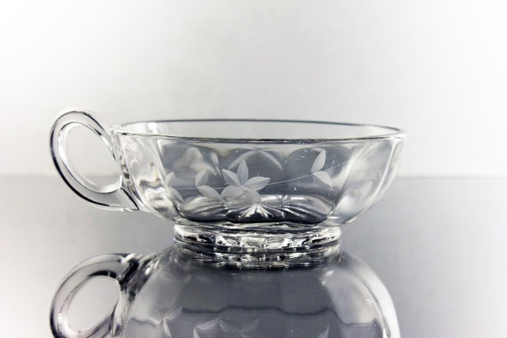Etched  Nappy, Wheel Cut, Floral Pattern, Handled Bowl, Clear Glass, Serving Bowl