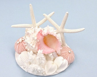 Beach Wedding Cake Topper with Starfish, Seashells and Pearls