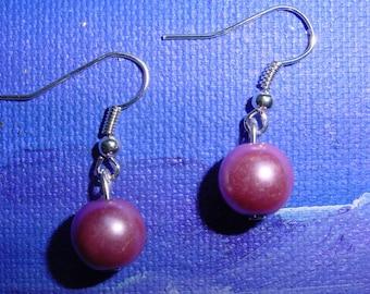 Purple glass Pearl Earrings