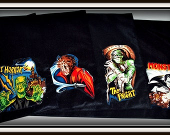 LAST ONE...Vintage Monsters Rockabilly Retro PlaceMats Set of 4, Frankenstein, Dracula, The Mummy, The Werewolf