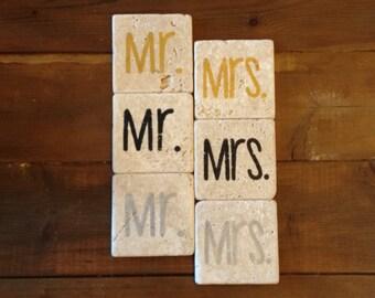Mr. & Mrs. Tumble Stone Coasters (Set of 2)