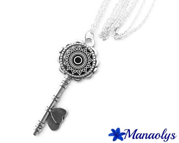 Necklace silver key, black and white patterns, flower, geometric patterns, 416 glass cabochons