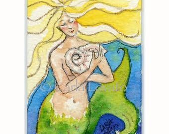 Mermaid Painting, Watercolor Mermaid,  Sea Goddess, ACEO Giclee Print,  hand painted, gold highlights,