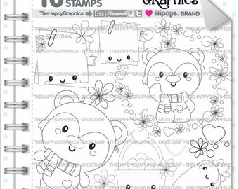 Bear Stamp, 80%OFF, Commercial Use, Digi Stamp, Digital Image, Bear Digistamp, Bear Coloring Page, Autumn Graphic, Animal Stamp, Leave
