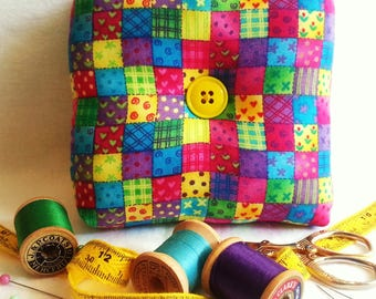 Colorful Patchwork Pincushion, Patchwork Pillow, Colorful Pincushion, Patchwork, Pincushion, Patchwork Box Pincushion,Bright Pincushion