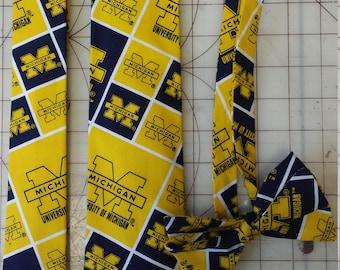 University of Michigan Neckties in bow tie, skinny tie, and standard tie styles, kids or adult sizes