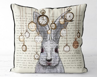 Alice in wonderland pillow cover - white rabbit pillow white rabbit cushion - alice in wonderland decor White rabbit print decorations