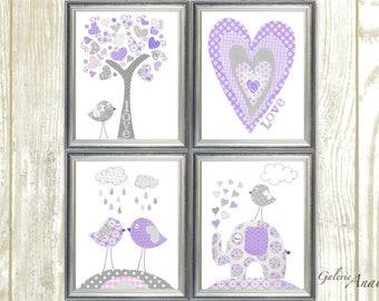 Purple and Gray Baby Nursery wall art Nursery Decor Baby Girl Nursery Art Kids room decor Tree Elephant Birds Heart Love Set of 4 prints