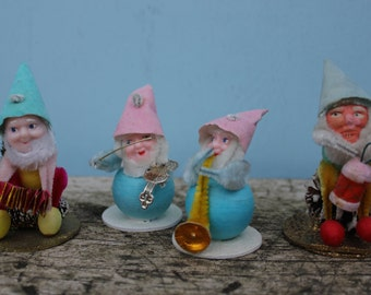 Set of FOUR, Vintage Pinecone Mica, Chenille, Spun Cotton Santa, Elves, Gnomes Japan