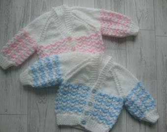 Hand Knitted Baby Cardigan - Hand Knitted for Baby - Soft Quality Branded Yarn - New Born - 0-3 Months