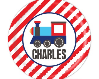 Personalized Train Plate - Train Engine Dinner Plate, Red Stripes, Blue Little Train Engine Melamine Plate - Kid Personalized Gift under 25