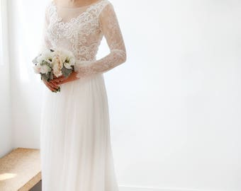Simple Chiffon White Lace Long Sleeve Wedding Dress