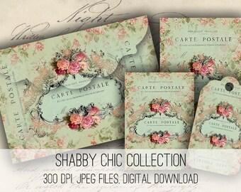 Shabby Chic Envelopes, Tags & Cards - Digital Collage Sheet Download -1143- Digital Paper - Instant Download Printables