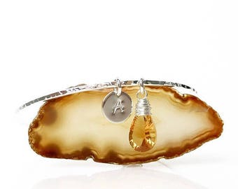 November Birthstone Charm Bracelet / Personalized Citrine Birthstone Bracelet Bangle Gift for Her / Mom Jewelry / Valentines Gift for Wife