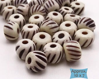 Scored Rondelle Bone Beads--10 Pcs. | 20-BN318-10