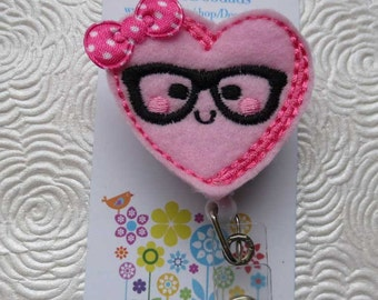Nerd Heart Badge Reel - Retractable Badge Reel - ID Holder