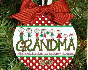 Polka Dot Christmas Ornament, Grandparents Ornament, Grandma Christmas, Personalized Ornament, Holiday Ornament, Christmas Gift, Family