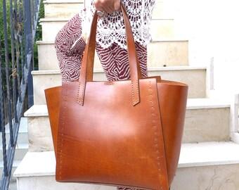 Leather Tote Bag Cognac - Leather Handbag - WomenLeather Bag - Leather Shopper Bag - Leather Shoulder Bag