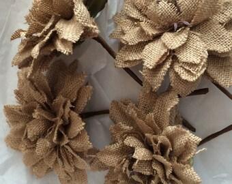 Burlap flower,  1 Large burlap flower decorations, wedding flowers,  Rustic wedding decorations, wedding table decorations