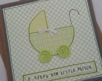 New baby card -new parents-baby shower-baby congratulations-baby birth annoucement -brand new person-buttons -baby pram-kraft card