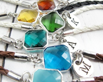 July Birthstone-Birthstone Bracelets-July Birthday Gift-Personalized Gifts for Friends-Jewelry for Women-Initial Bracelet Gift for Her