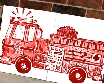 Red Or Blue Big Rig Fire Truck Art 20x32 Engine Side View