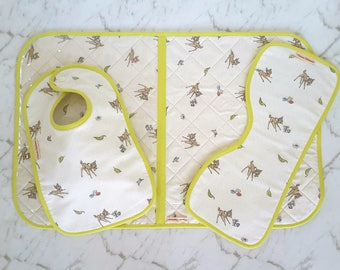 Diaper Change Mat, Bib, Burp Cloth, Newborn Gift Ideas, Baby Niece Gift, New Parent Gift, Deer Baby,  Bambi, Thumper, Lime, Cream
