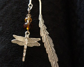 Dragonfly In Amber Themed Bookmark,  Antiqued Silver Tone, Scotland Inspired