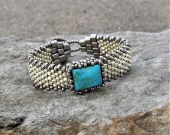 Free Form Peyote Stitch Beaded Bracelet - Bead Weaving -  Turquoise Cabochon - Silver Galvanized  BOHO