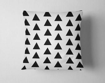Black and white geometric triangles throw pillow