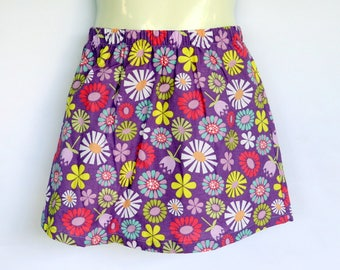 Girls Purple Floral Skirt - sizes 1 to 5 avail - retro, 70's cotton flower daisy